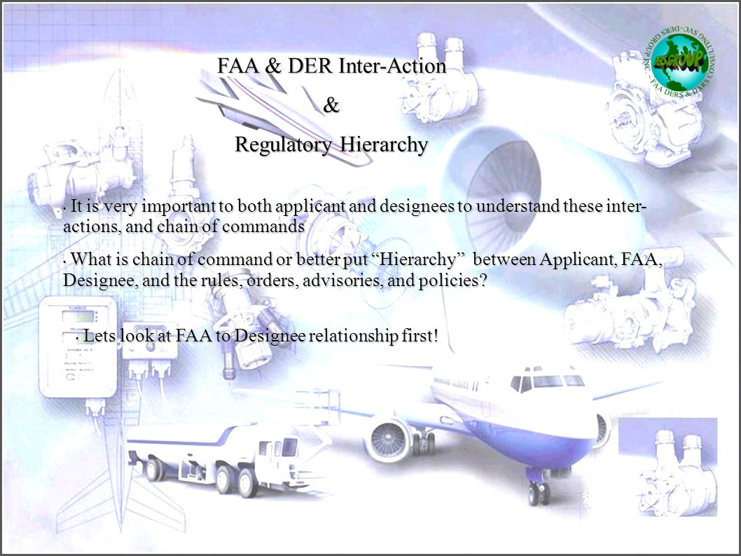 FAA & DER Inter-Action & Regulatory Hierarchy