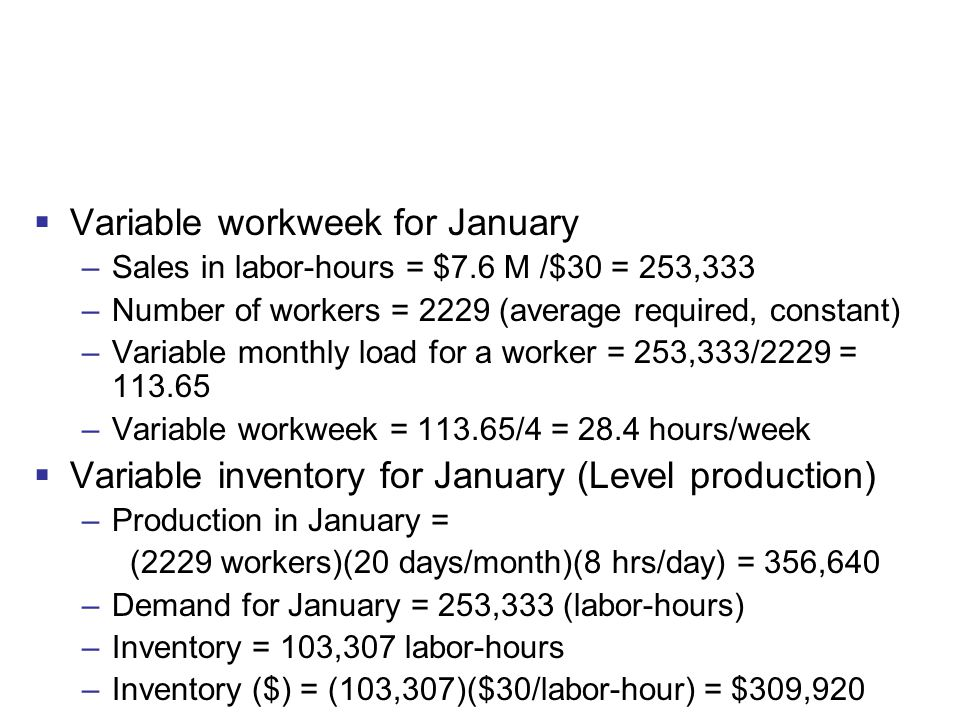 Variable workweek for January
