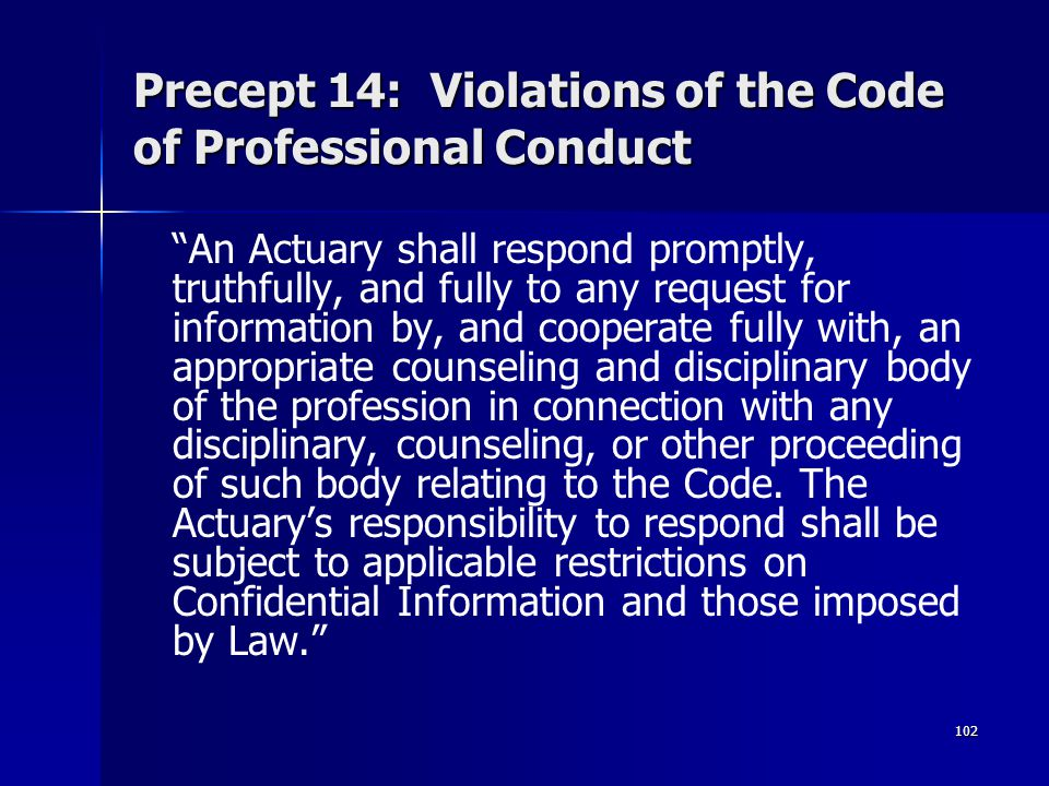 Precept 14: Violations of the Code of Professional Conduct