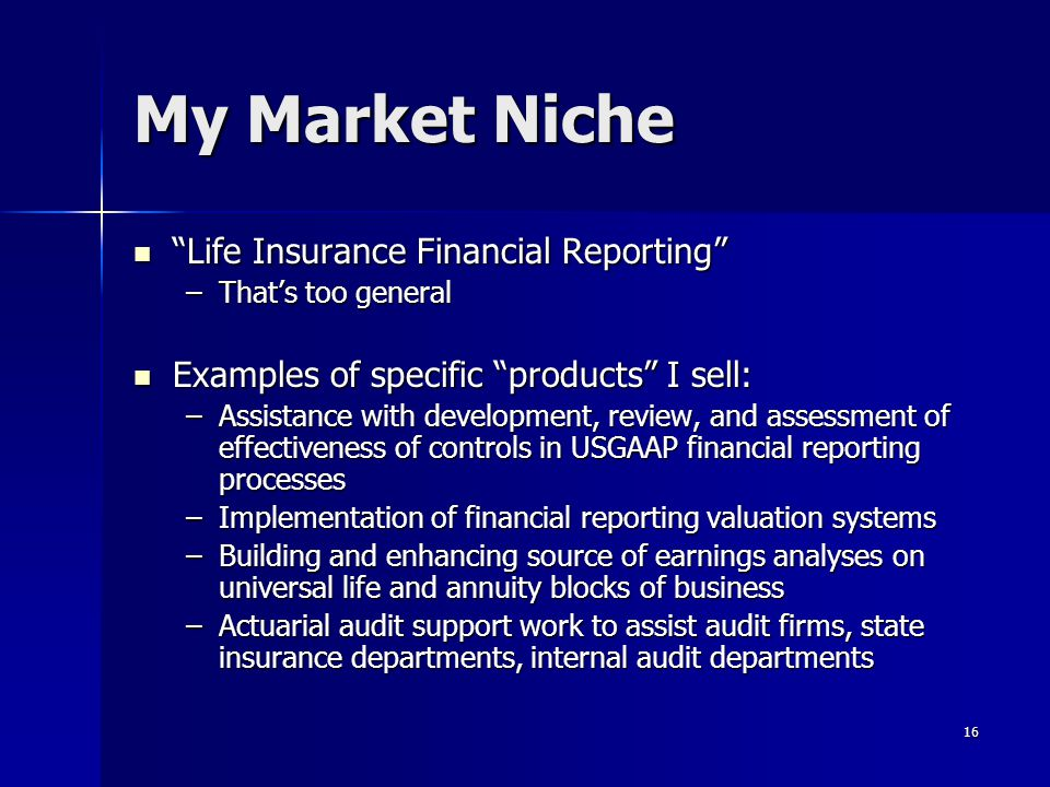 My Market Niche Life Insurance Financial Reporting