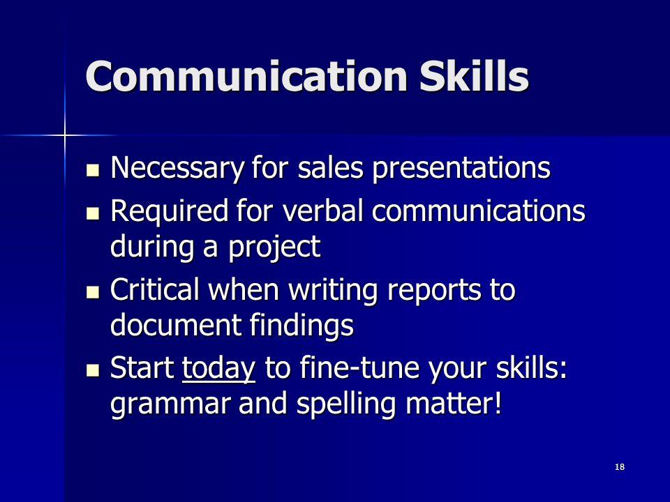 Communication Skills Necessary for sales presentations