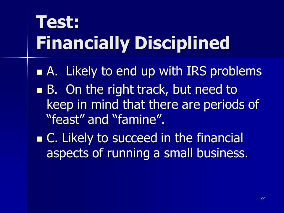 Test: Financially Disciplined