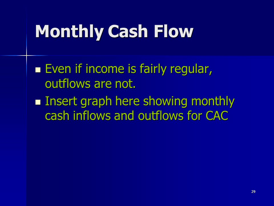 Monthly Cash Flow Even if income is fairly regular, outflows are not.