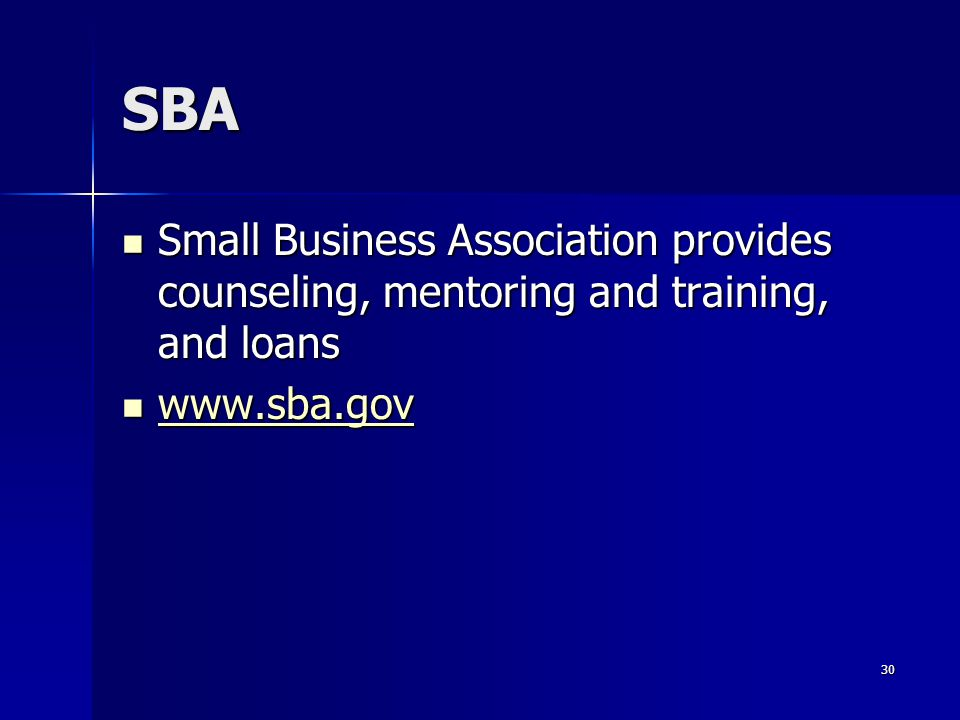 SBA Small Business Association provides counseling, mentoring and training, and loans www.sba.gov