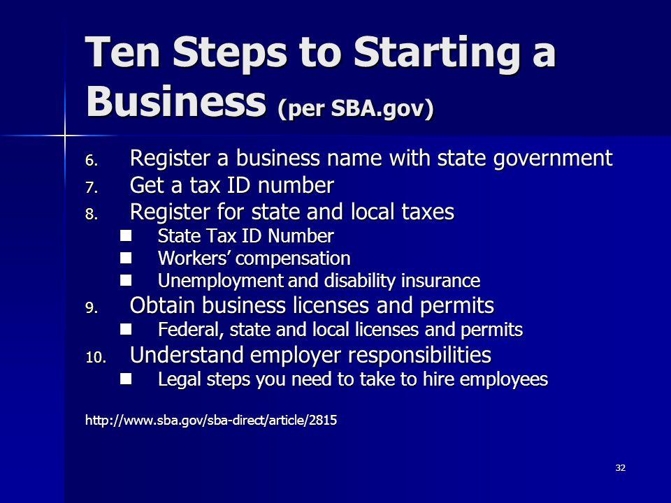 Ten Steps to Starting a Business (per SBA.gov)