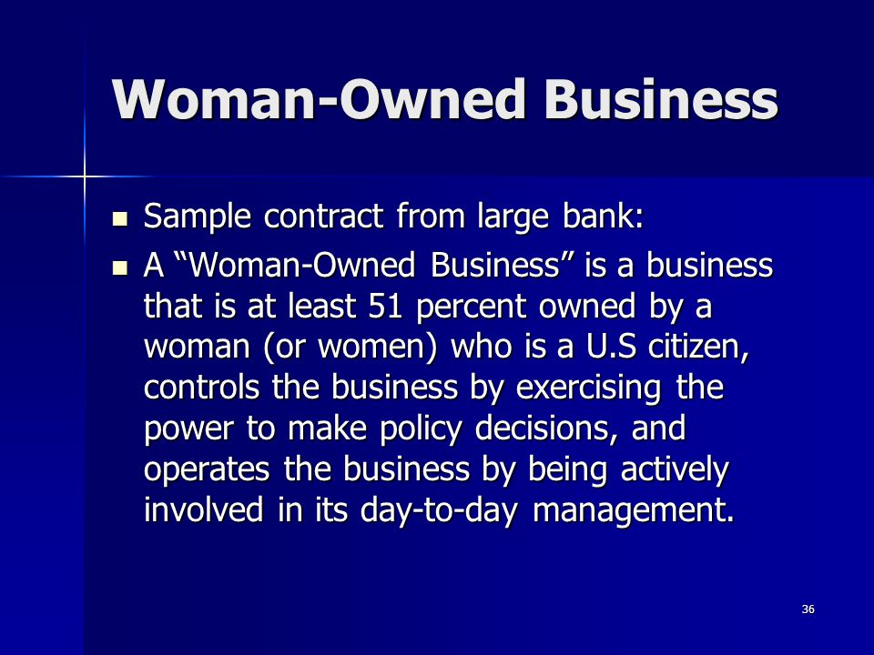 Woman-Owned Business Sample contract from large bank: