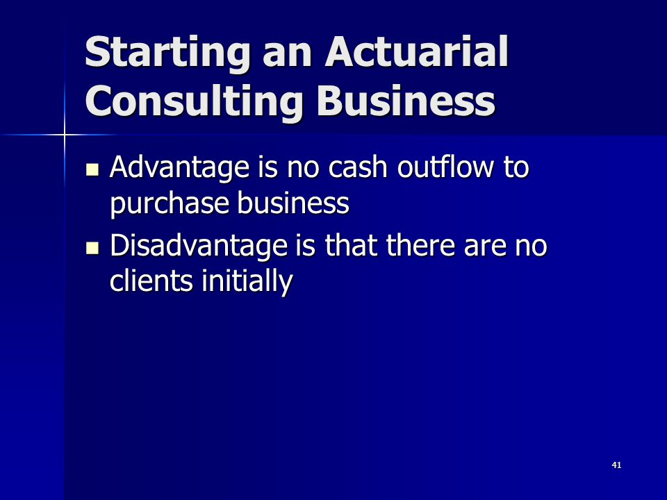 Starting an Actuarial Consulting Business