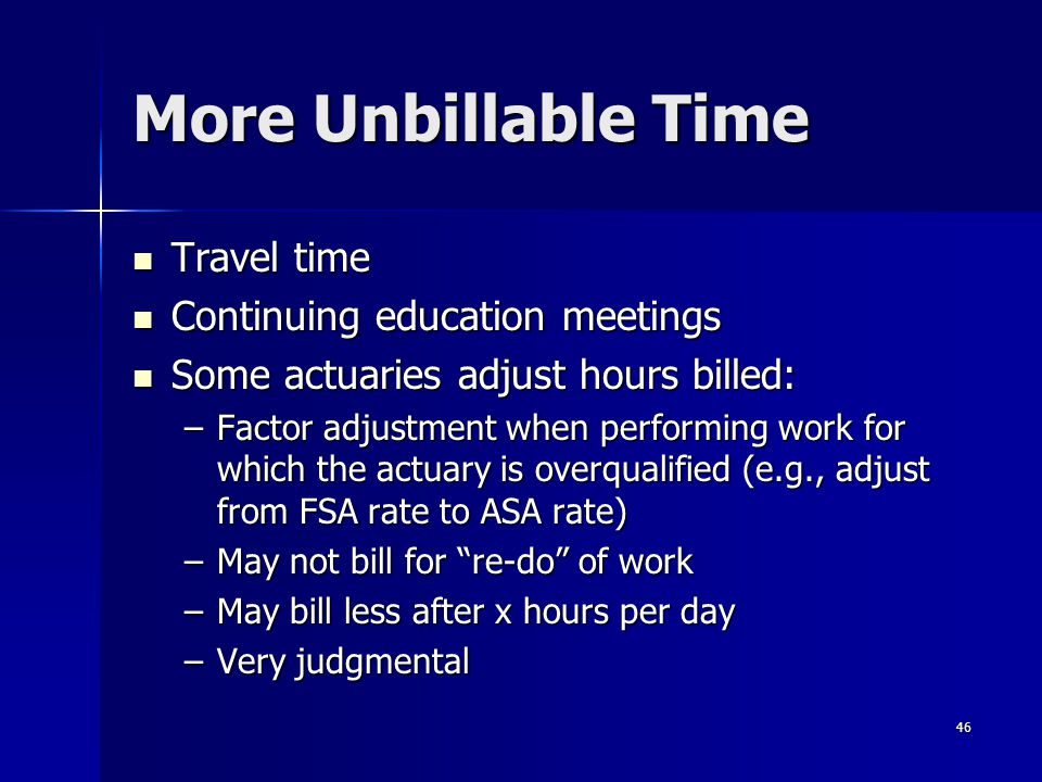 More Unbillable Time Travel time Continuing education meetings