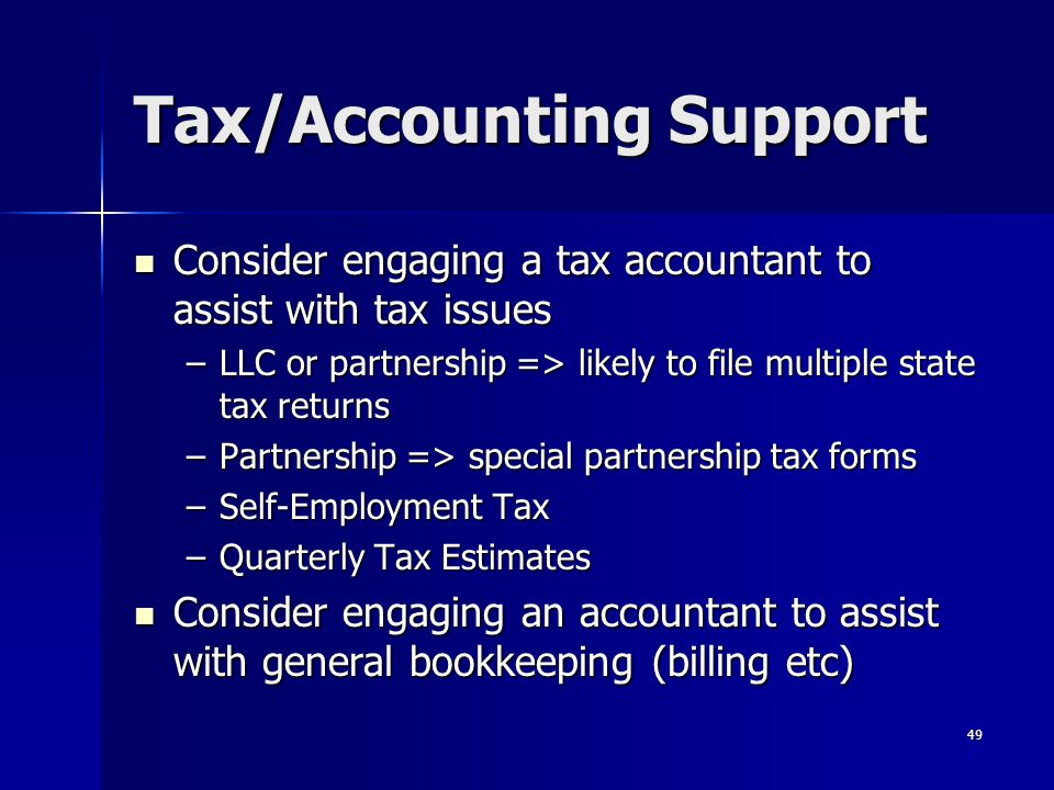 Tax/Accounting Support