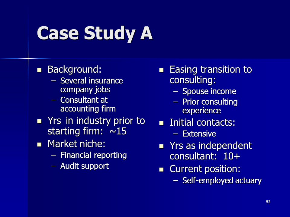 Case Study A Background: Yrs in industry prior to starting firm: ~15
