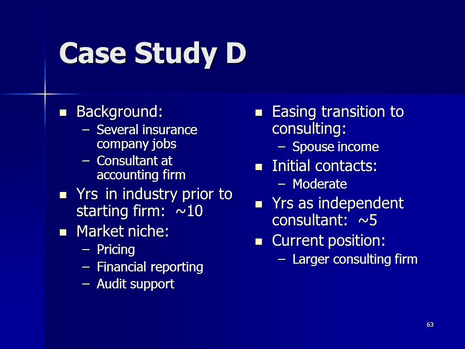 Case Study D Background: Yrs in industry prior to starting firm: ~10