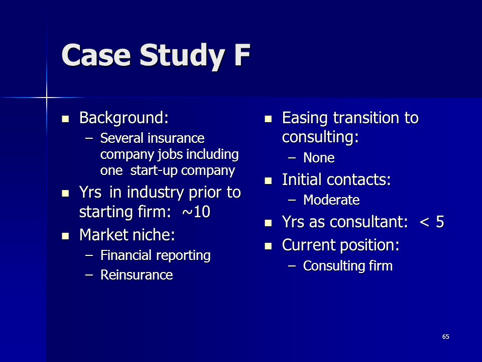 Case Study F Background: Yrs in industry prior to starting firm: ~10