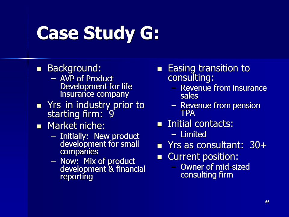Case Study G: Background: Yrs in industry prior to starting firm: 9