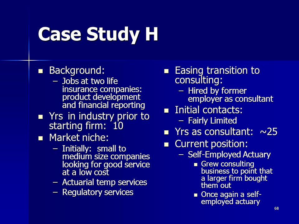 Case Study H Background: Yrs in industry prior to starting firm: 10