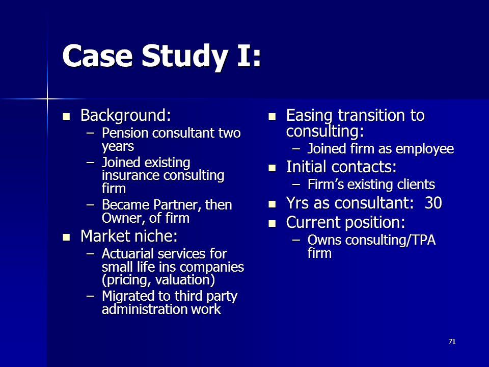 Case Study I: Background: Market niche: