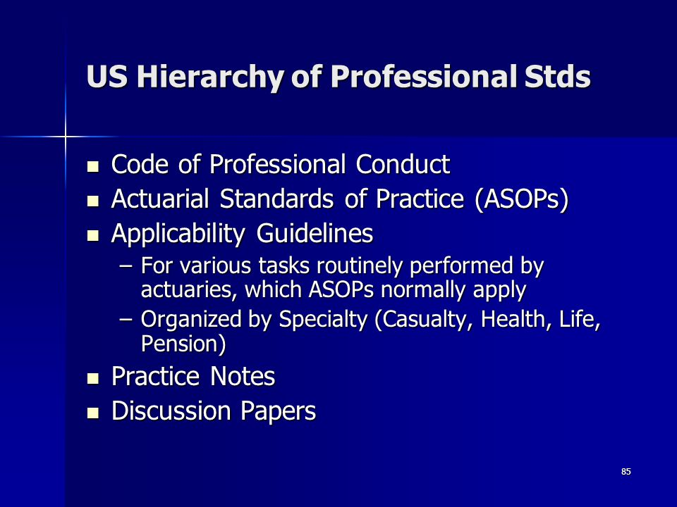 US Hierarchy of Professional Stds