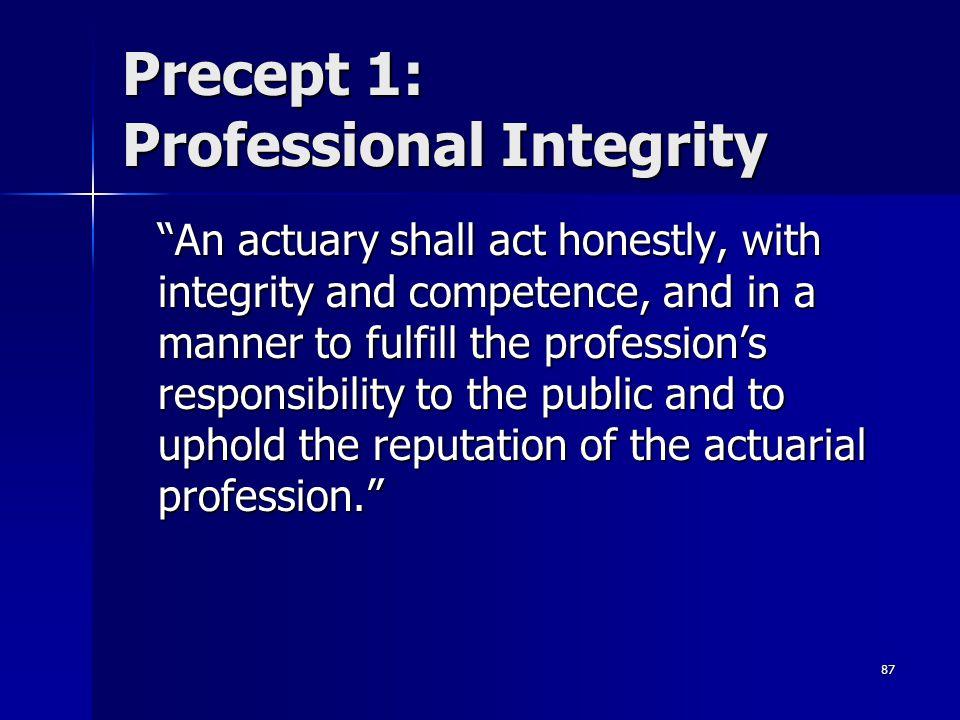 Precept 1: Professional Integrity