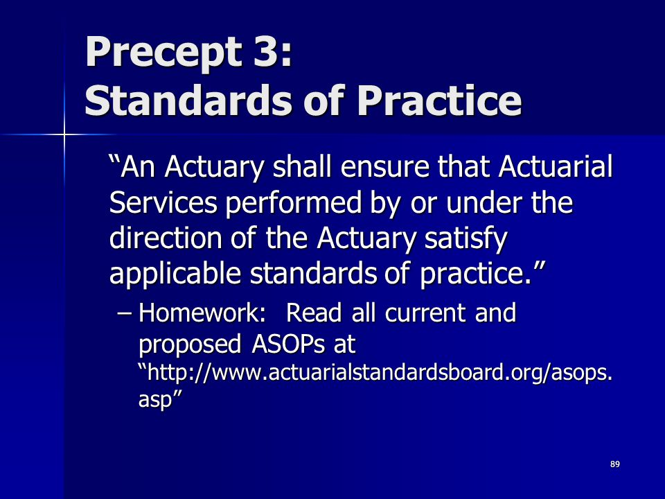 Precept 3: Standards of Practice