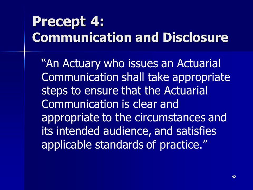 Precept 4: Communication and Disclosure