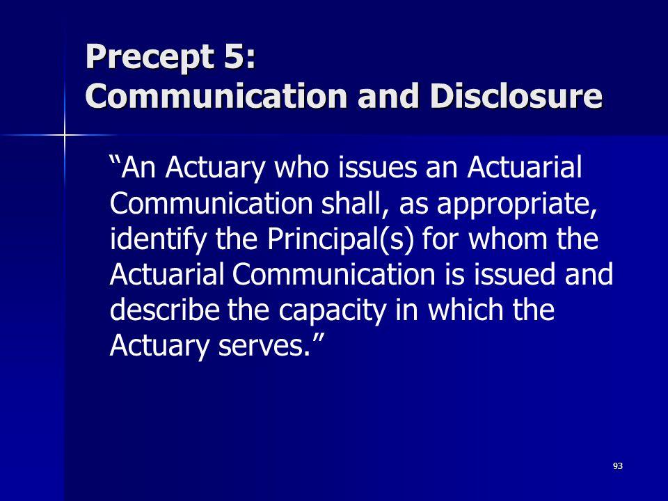 Precept 5: Communication and Disclosure