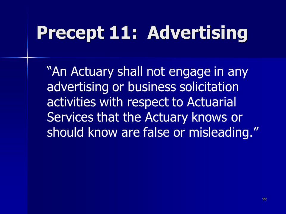 Precept 11: Advertising