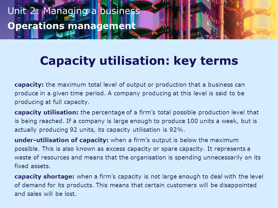 Capacity utilisation: key terms