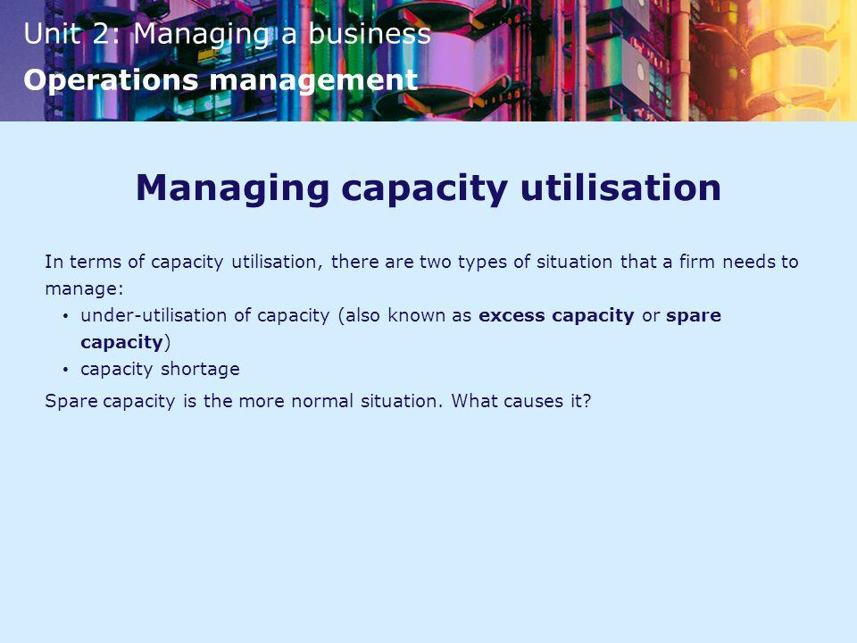 Managing capacity utilisation