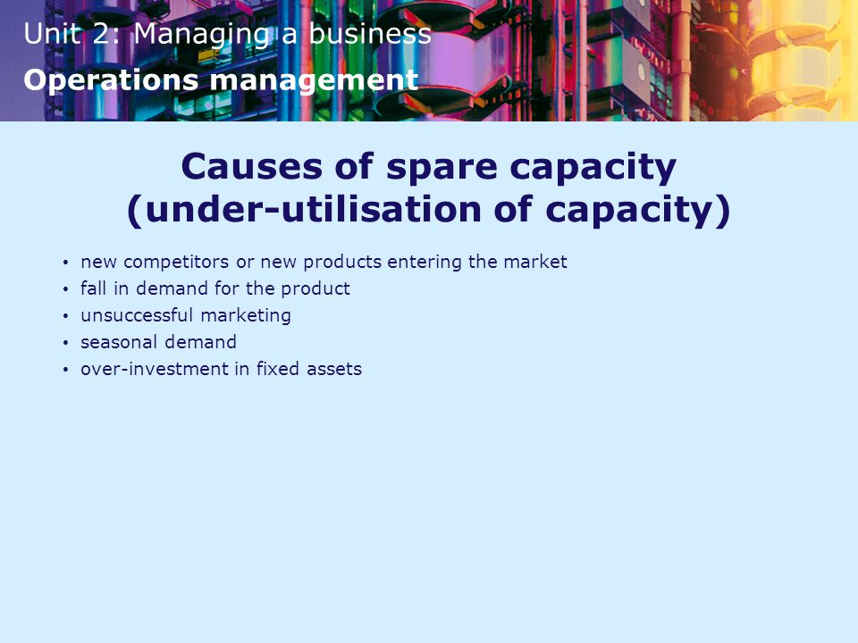 Causes of spare capacity (under-utilisation of capacity)