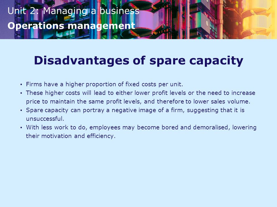 Disadvantages of spare capacity