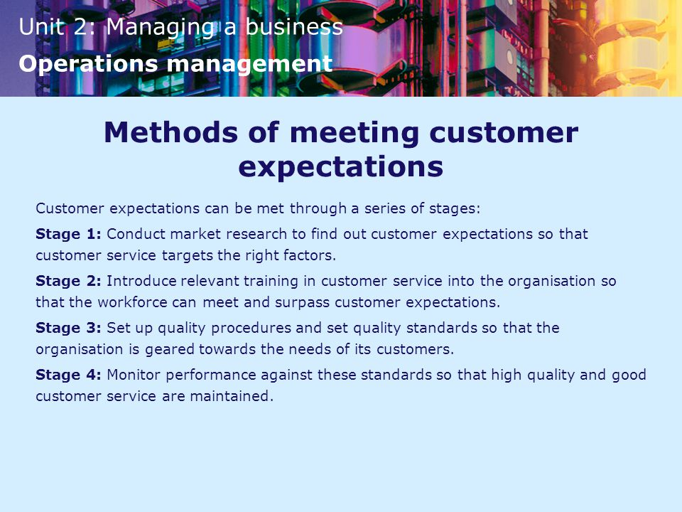 Methods of meeting customer expectations
