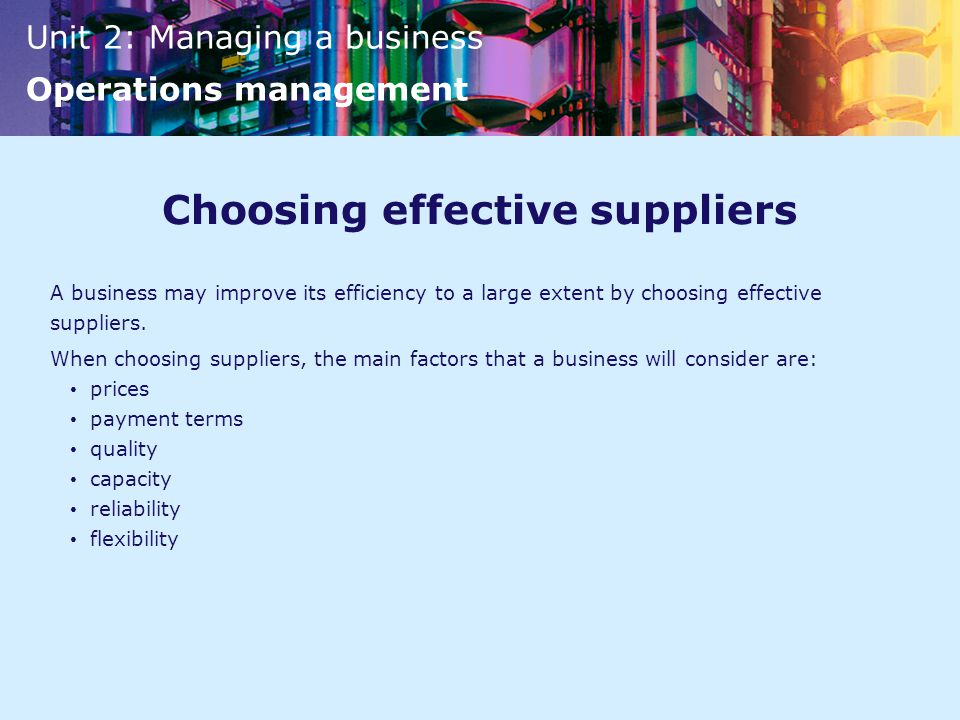 Choosing effective suppliers