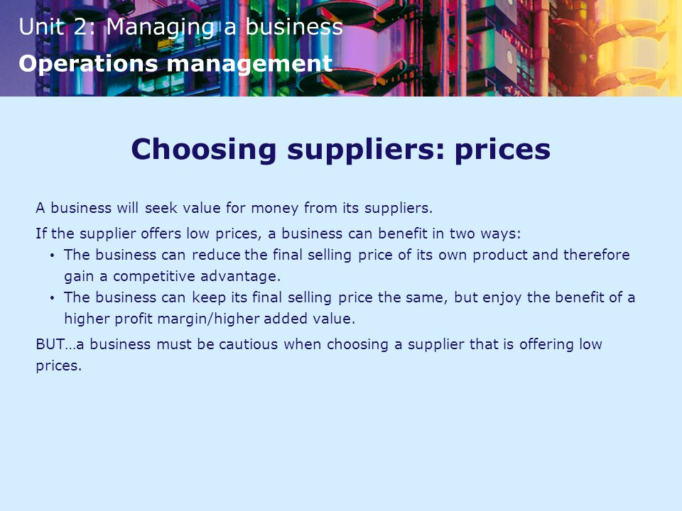 Choosing suppliers: prices