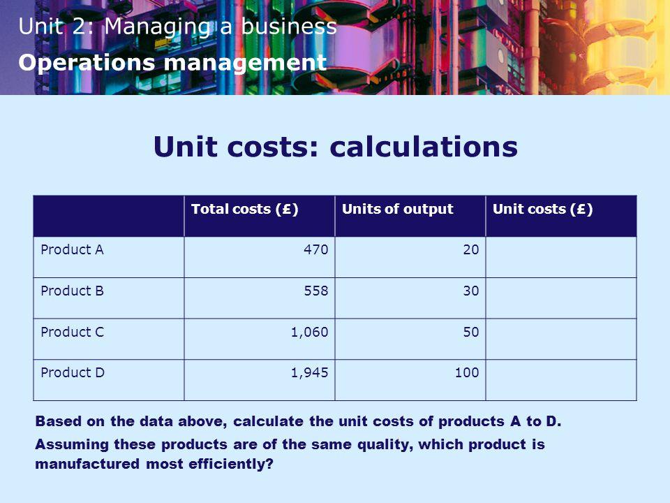 Unit costs: calculations