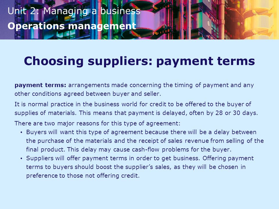 Choosing suppliers: payment terms
