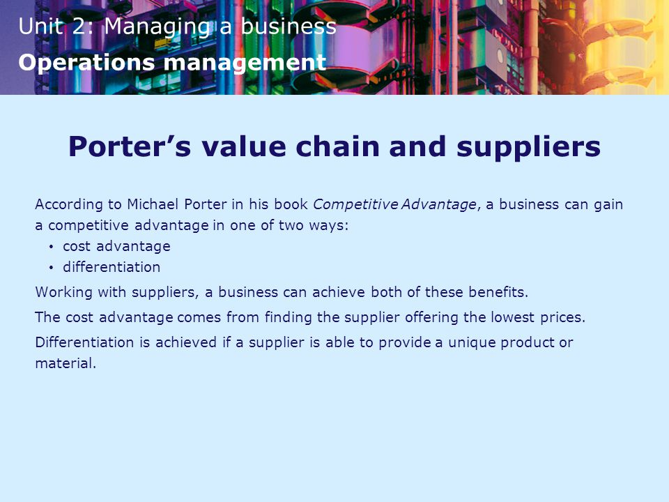 Porter's value chain and suppliers