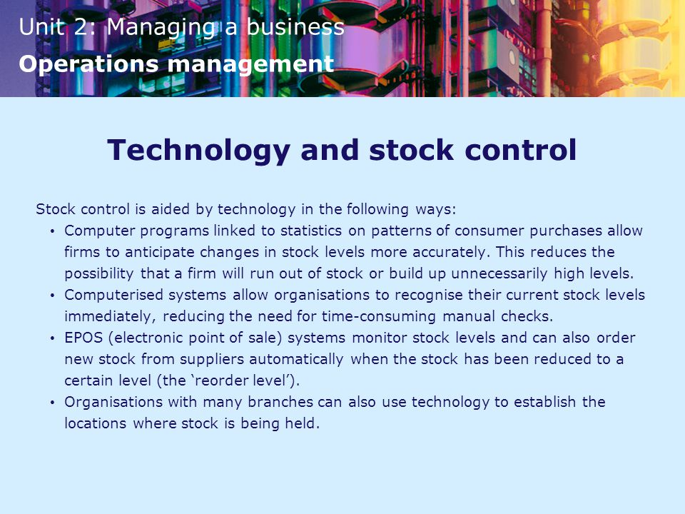 Technology and stock control