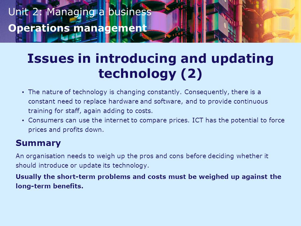 Issues in introducing and updating technology (2)