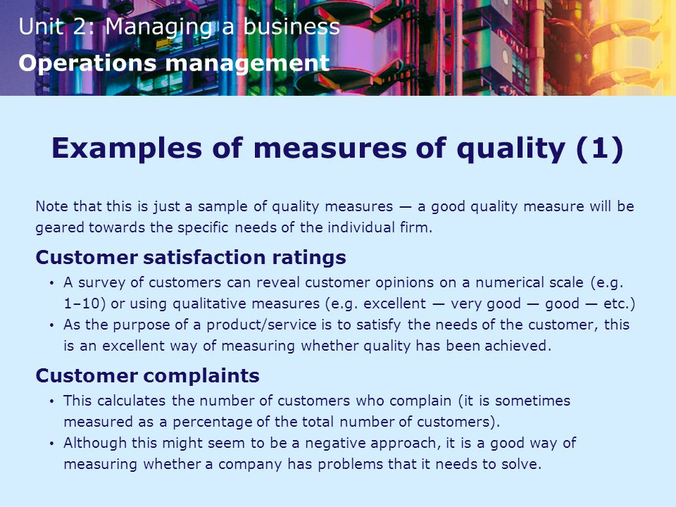 Examples of measures of quality (1)