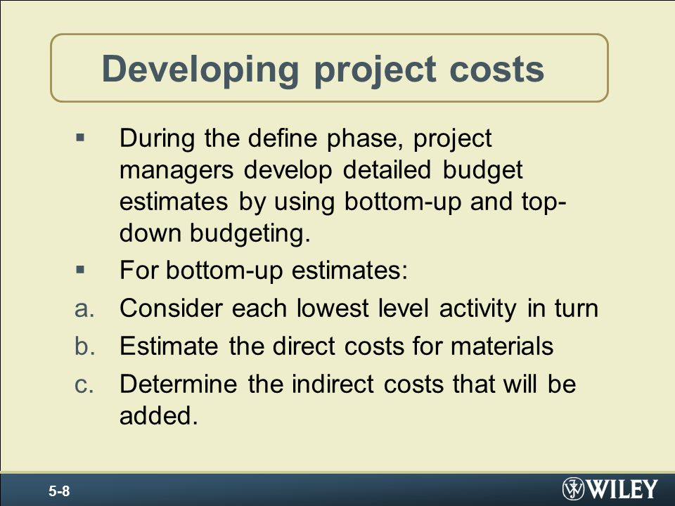 Developing project costs
