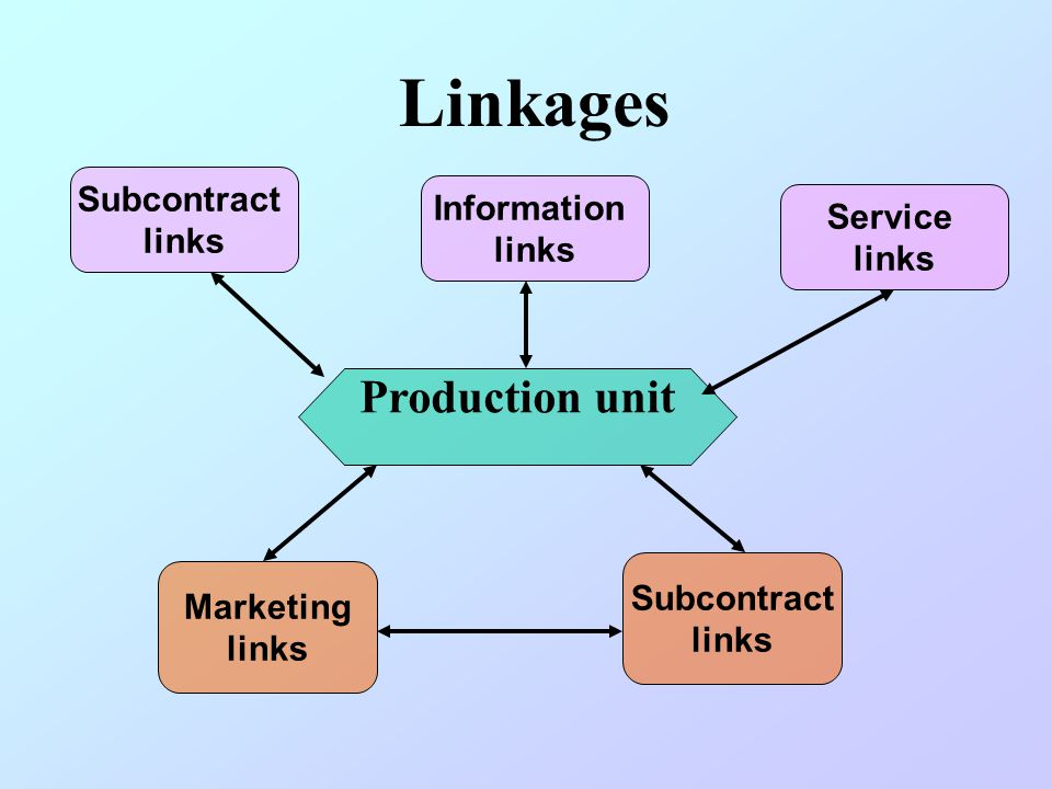 Linkages Production unit Subcontract Information Service links links