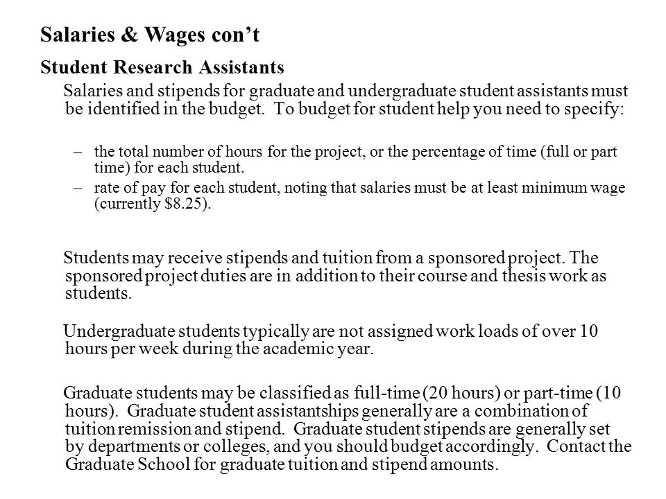 Salaries & Wages con't Student Research Assistants
