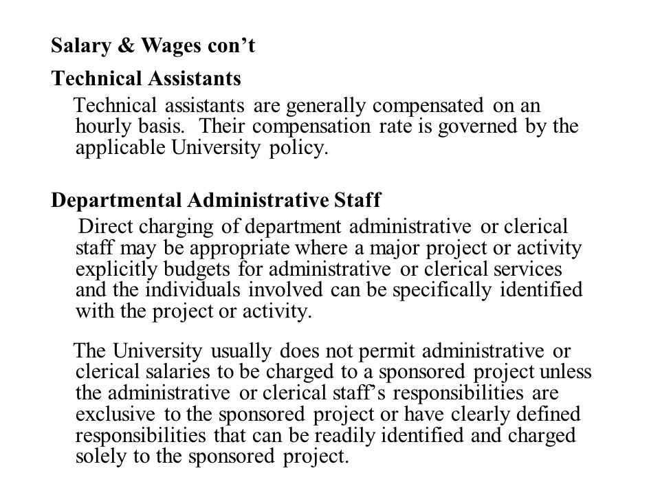 Salary & Wages con't Technical Assistants.