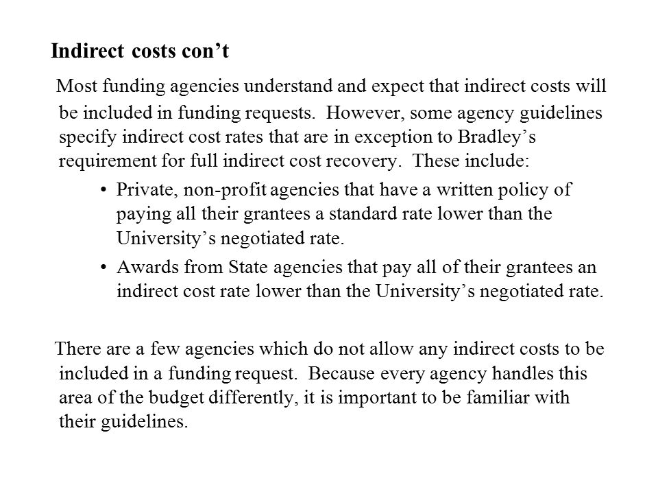 Indirect costs con't
