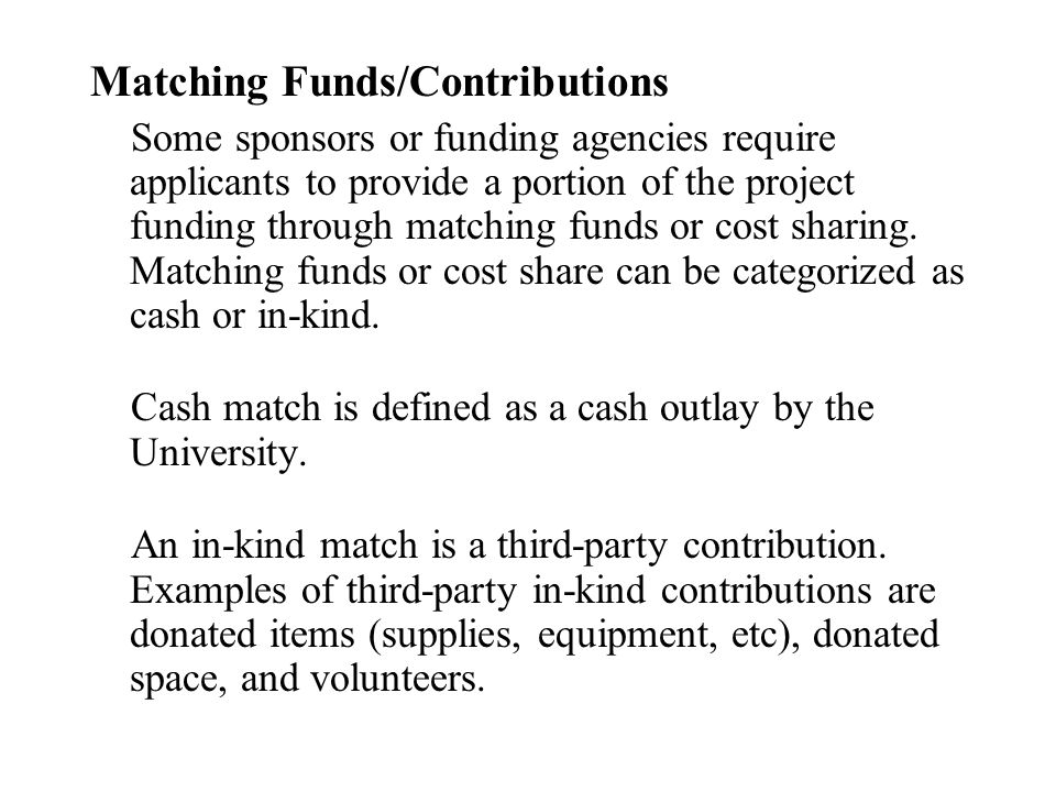Matching Funds/Contributions