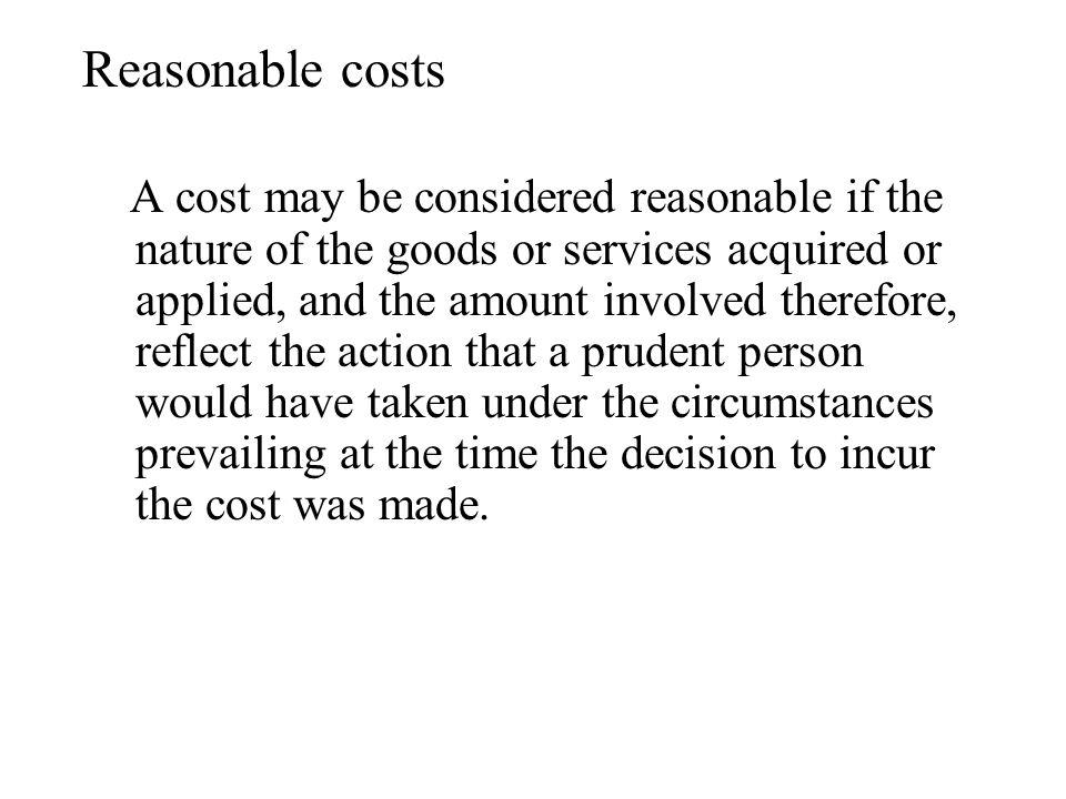 Reasonable costs