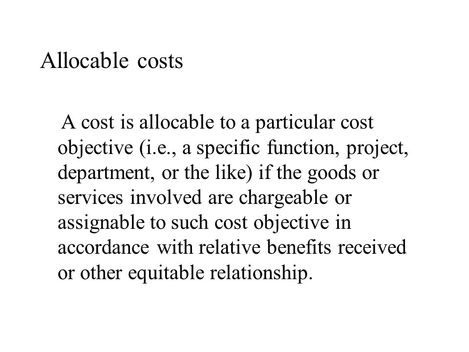 Allocable costs