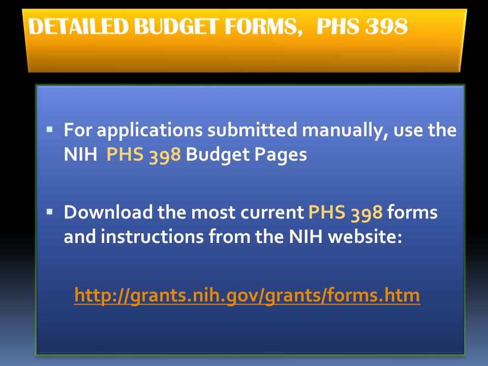 DETAILED BUDGET FORMS, PHS 398