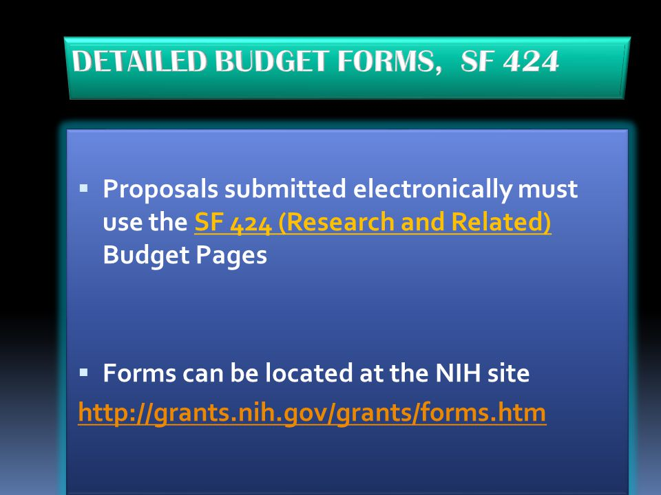 DETAILED BUDGET FORMS, SF 424