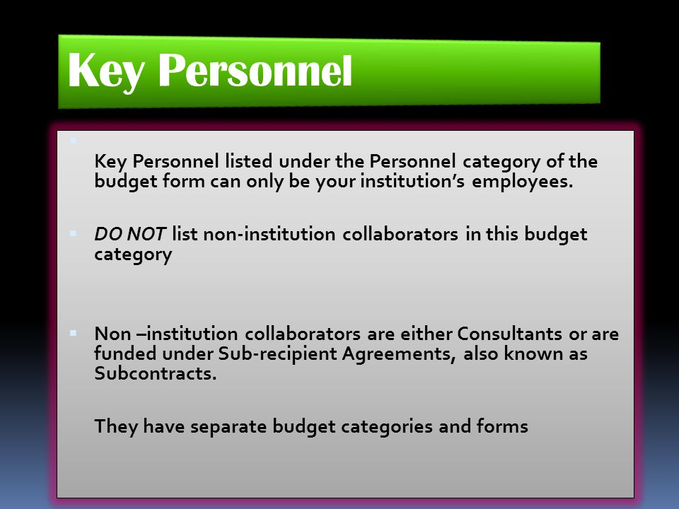 Key Personnel Key Personnel listed under the Personnel category of the budget form can only be your institution's employees.