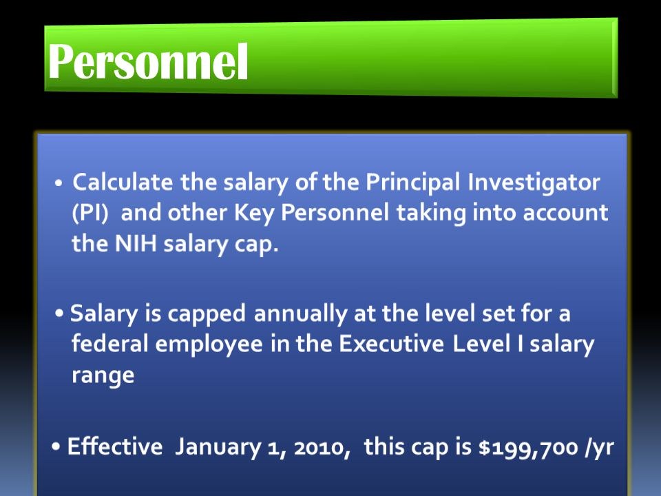 Personnel • Calculate the salary of the Principal Investigator (PI) and other Key Personnel taking into account the NIH salary cap.